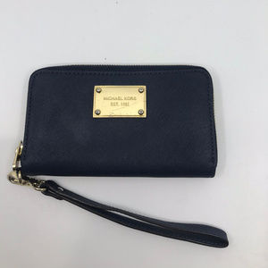 MICHAEL KORS Black Saffiano Leather Wristlet